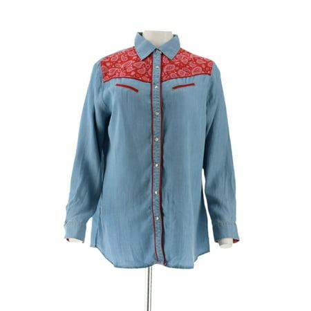 Sheryl Crow Western Bandana Print Shirt 594-676 Floral Print Wrap Top