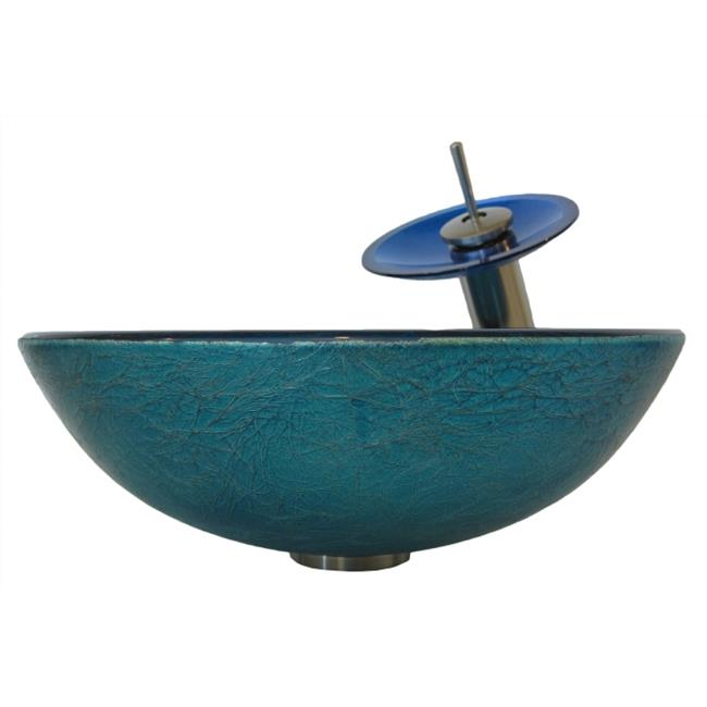 Novatto NSFC-S132001BN Novatto Verdazzurro Foil Painted Glass Vessel Sink with Matching Brushed Nickel Faucet, Drain and Mounting Ring - image 1 de 1