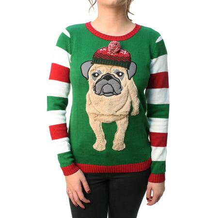 Ugly Christmas Sweater - Ugly Christmas Sweater Women s 3D Furry Pug Beanie  Pullover Sweatshirt - Walmart.com 6c423e2138