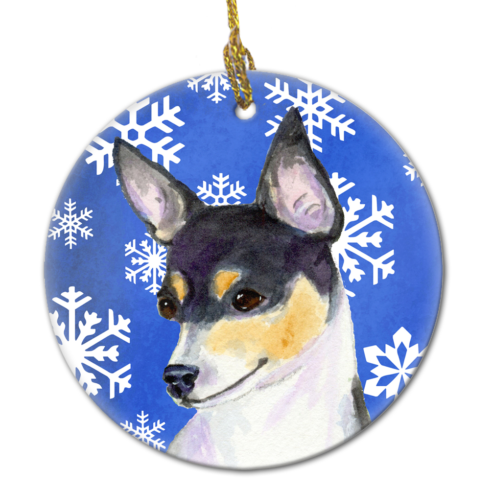 Chihuahua Winter Snowflakes Holiday Christmas Ceramic Ornament SS4656