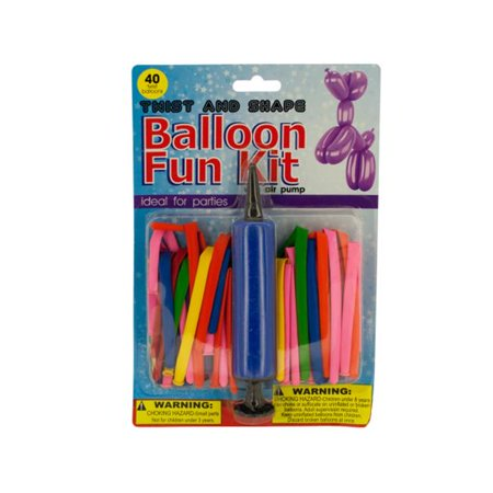 Bulk Buys OF654-4 Twist Shape Balloon Fun Kit with Air Pump, 4