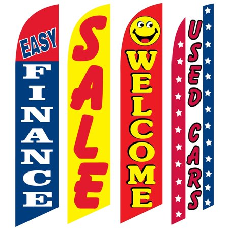 4 Advertising Swooper Flags Easy Finance Sale Welcome Used Cars