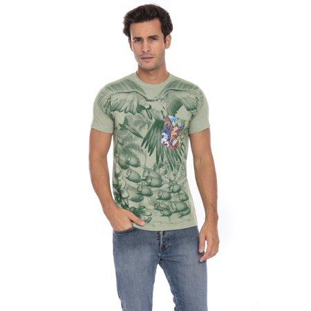 Take a Journey to Paradise in our Parrot Head Fever Soft T-Shirt Tee Printed Pocket Unisex Mens - Green Parrot Green T-shirt