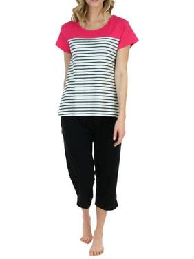 Frankie & Johnny Women's Sleepwear Short Sleeve Tee and Capri Pant Pajama Set