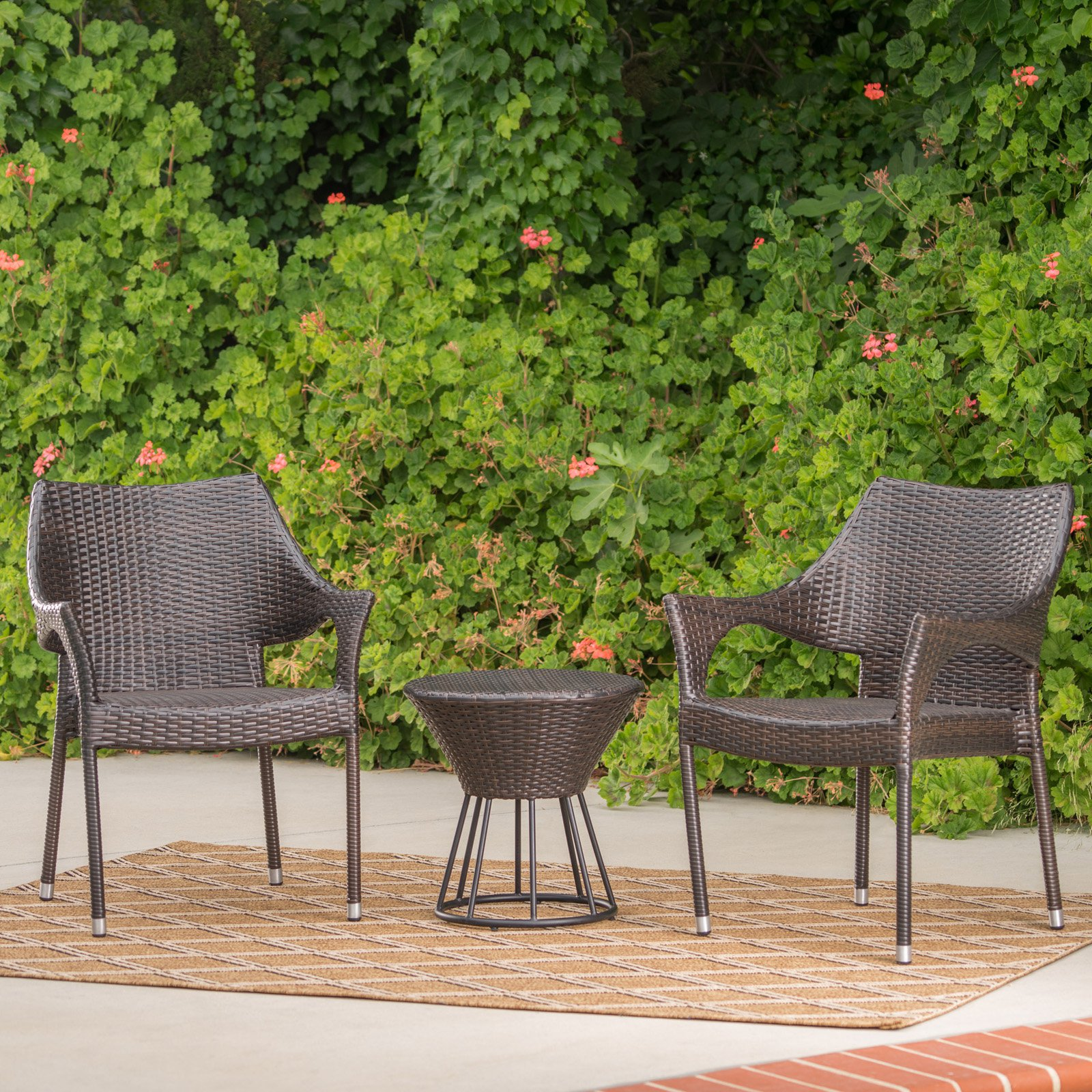 Dover Wicker 3 Piece Outdoor Stacking Chair Chat Set