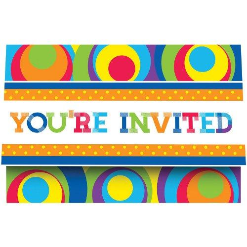 8 Pack Party Invitations Mod Circles