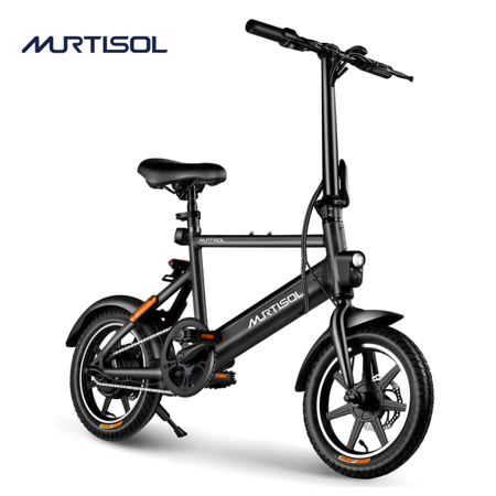 Murtisol Electric Bicycles Aluminium Adult Ebike 36V 250W, 6AH Lithium Battery, Dual Disc Brakes, 3 Digital Adjustable Speed, Hidden Battery Design, Foldable Handle