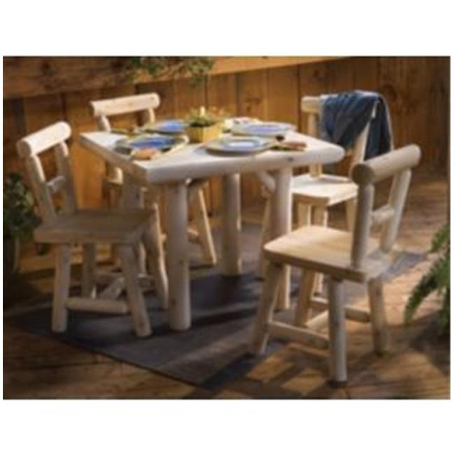 Rustic Natural Cedar Furniture 0211230 Five Piece 35 inch Square Solid Top Dining Set
