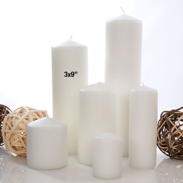 "1 White Unscented Pillar Candle 3x9"" Burn Time 120Hours"