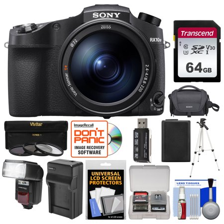Sony Cyber-Shot DSC-RX10 IV 4K Wi-Fi Digital Camera with 64GB Card + Case + Flash/Video Light + Battery + Charger + Tripod + 3 Filters +