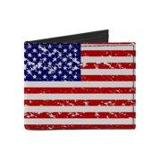 Men's Canvas Distressed American Flag Print Billfold Wallet