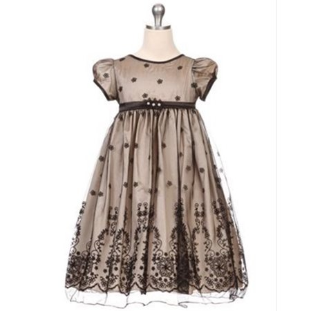 c67fe2d330e Efavormart Taffeta and Floral Embroidered Tulle Overlay Girls Dress  Birthday Girl Dress Junior Flower Girl Wedding