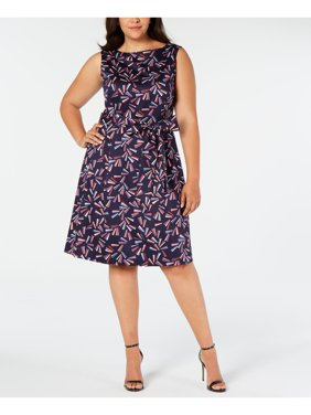 ANNE KLEIN Womens Navy Printed Sleeveless Jewel Neck Knee Length Fit + Flare Party Dress  Size 20W