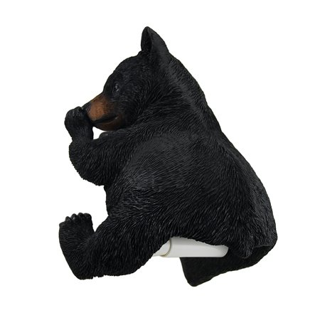 Smelly Squeeze Rustic Black Bear Holding Nose Hanging Toilet Paper Holder
