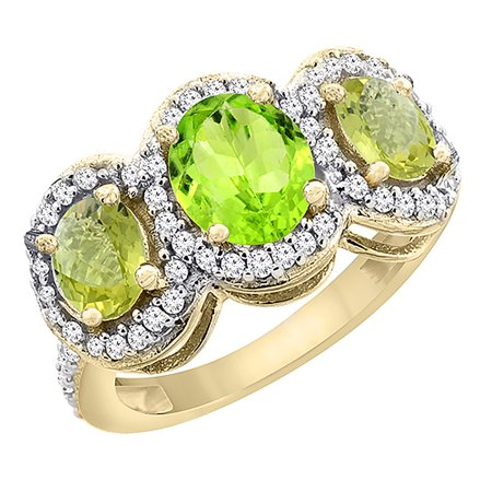 14K Yellow Gold Natural Peridot & Lemon Quartz 3-Stone Ring Oval Diamond Accent, size 9