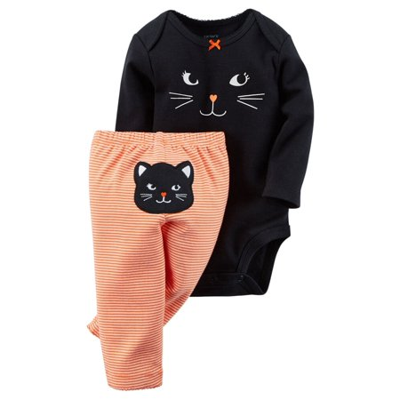 Carters Baby Clothing Outfit Girls Halloween Bodysuit & Pant Set Cat Stripe