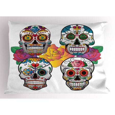 Sugar Skull Pillow Sham Different Types of Skulls Rich and Colorful Ornaments Roses Border Carnival, Decorative Standard Size Printed Pillowcase, 26 X 20 Inches, Multicolor, by Ambesonne ()