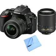 Nikon D5500 24.2MP DSLR Camera with 18-55mm VR II Lens Bundle Includes Nikon D5500 Digital SLR Camera, Nikon NIKKOR 18-55mm Lens, Nikon NIKKOR 55-200mm Lens & Beach Camera Cloth - Factory Refurbished
