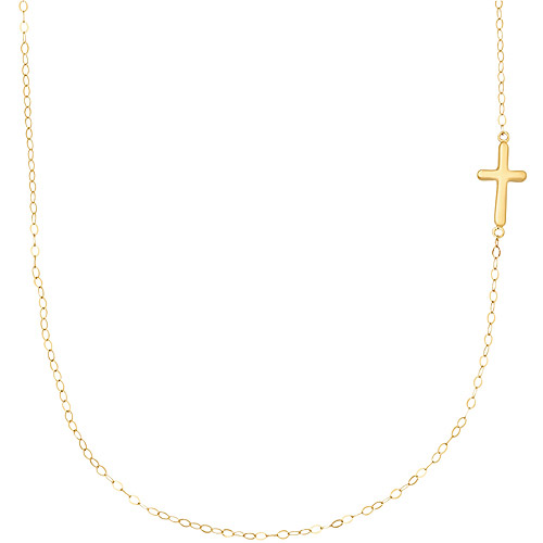 Simply Gold 14kt Yellow Gold Teeny Tiny Side Cross Pendant, 17""