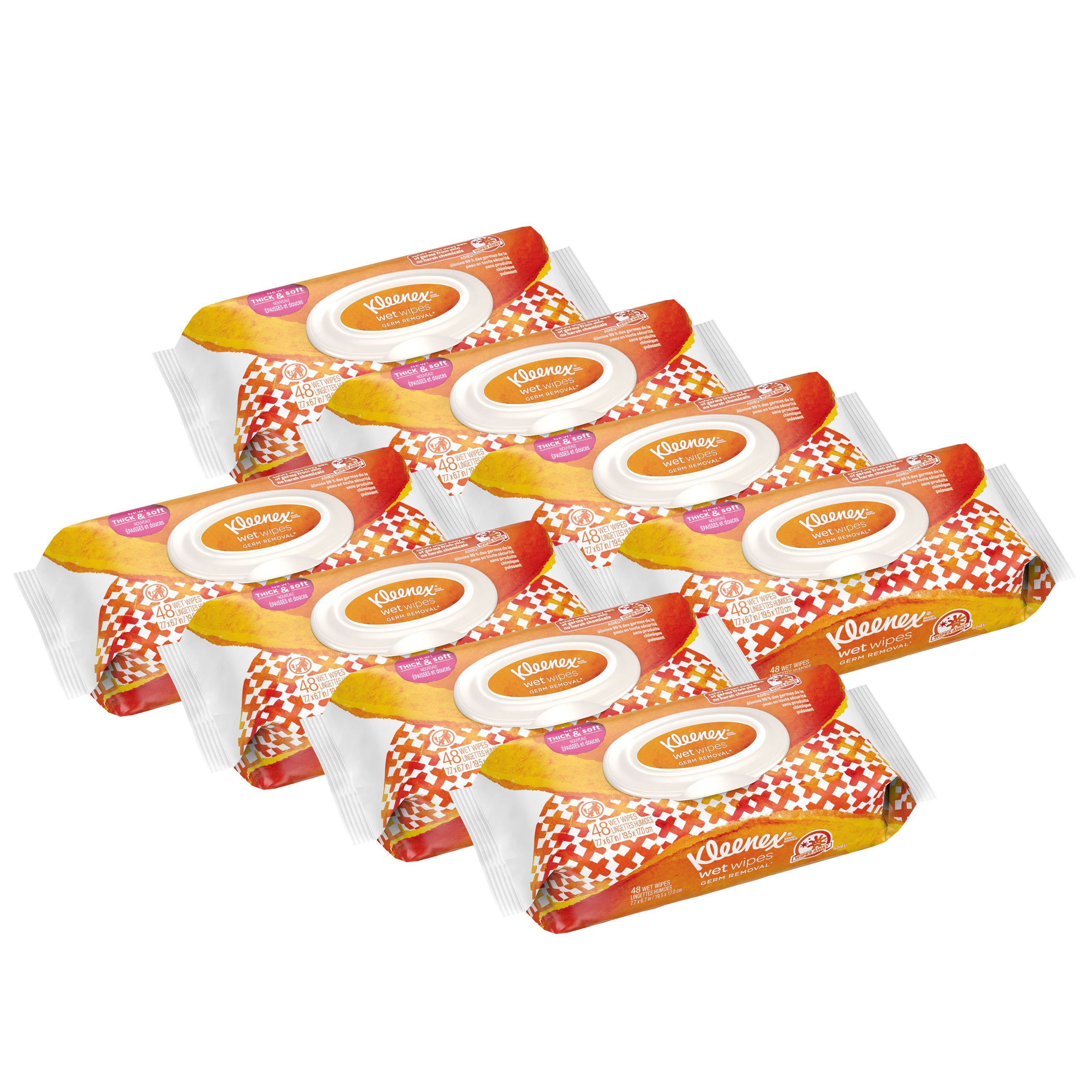Kleenex Wet Wipes Germ Removal for Hands and Face, Flip-top Pack, 48 Wipes (8 Packs, 384 Total Wipes)