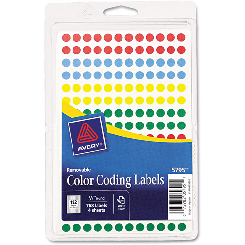 Avery Removable Self-Adhesive Color-Coding Labels, 768-Pack, Assorted Colors
