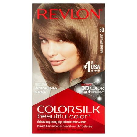 Revlon ColorSilk Beautiful Color 50 Light Ash Brown Permanent Hair ...