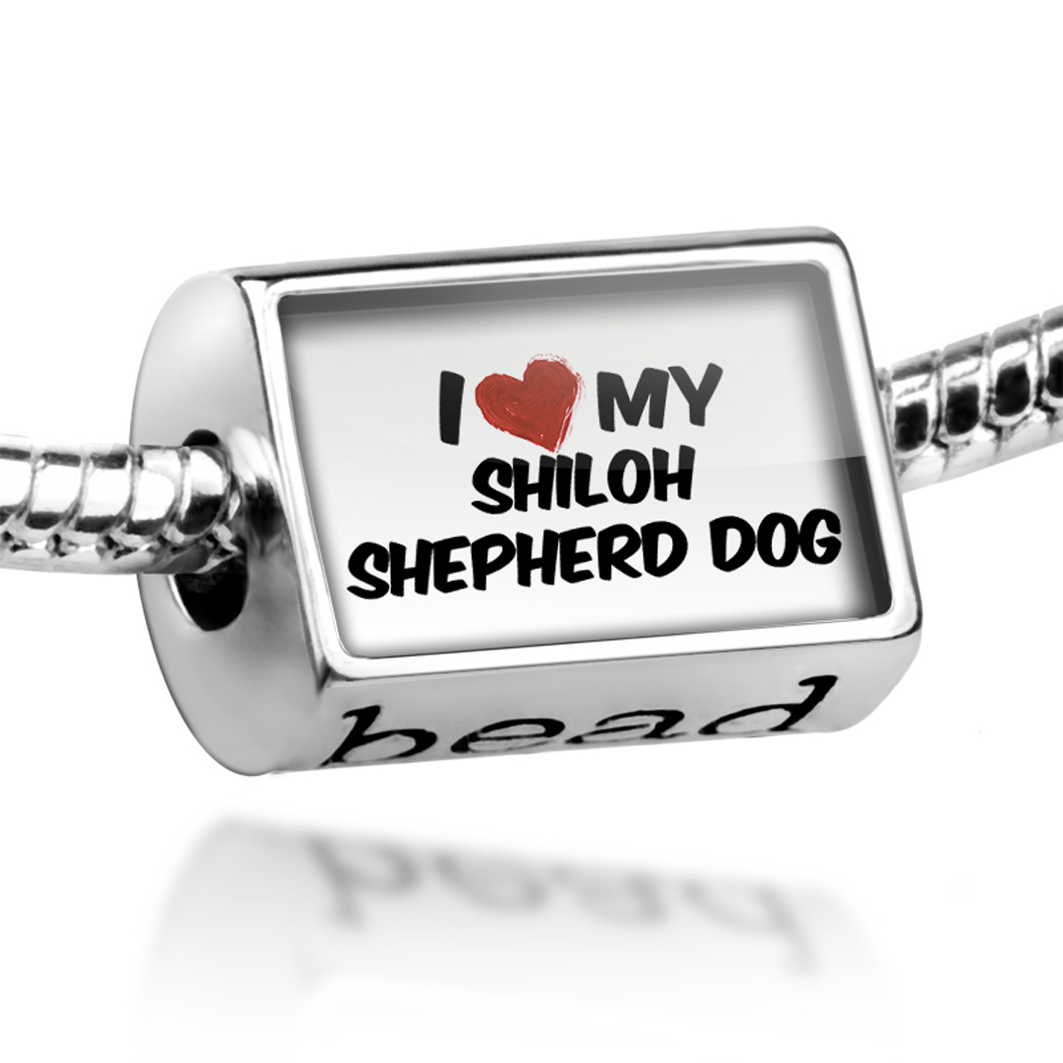 Bead I Love my Shiloh Shepherd Dog from United States Charm Fits All European Bracelets
