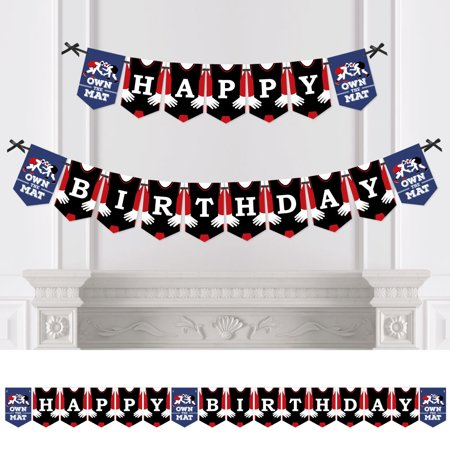 Black And Red Happy Birthday Banner (Own The Mat - Wrestling - Birthday Party Bunting Banner - Birthday Party Decorations - Happy)