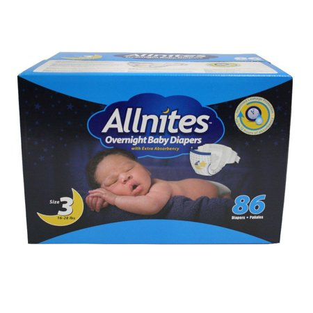 Image of Allnites Overnight Diapers, Size 3, 86 Diapers
