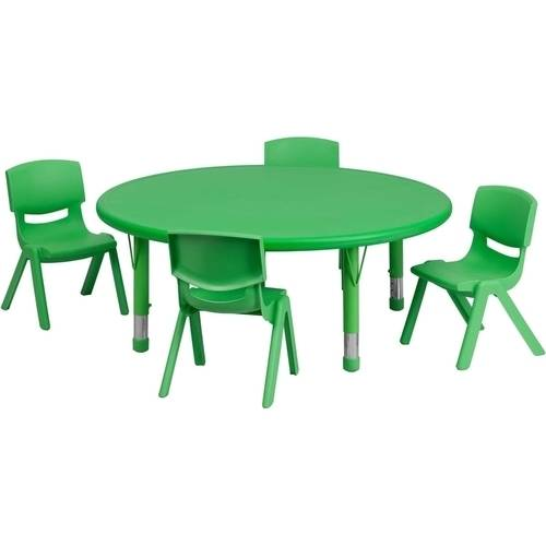 Flash Furniture 45'' Round Adjustable Plastic Activity Table Set in Multiple Colors with 4 School Stack Chairs