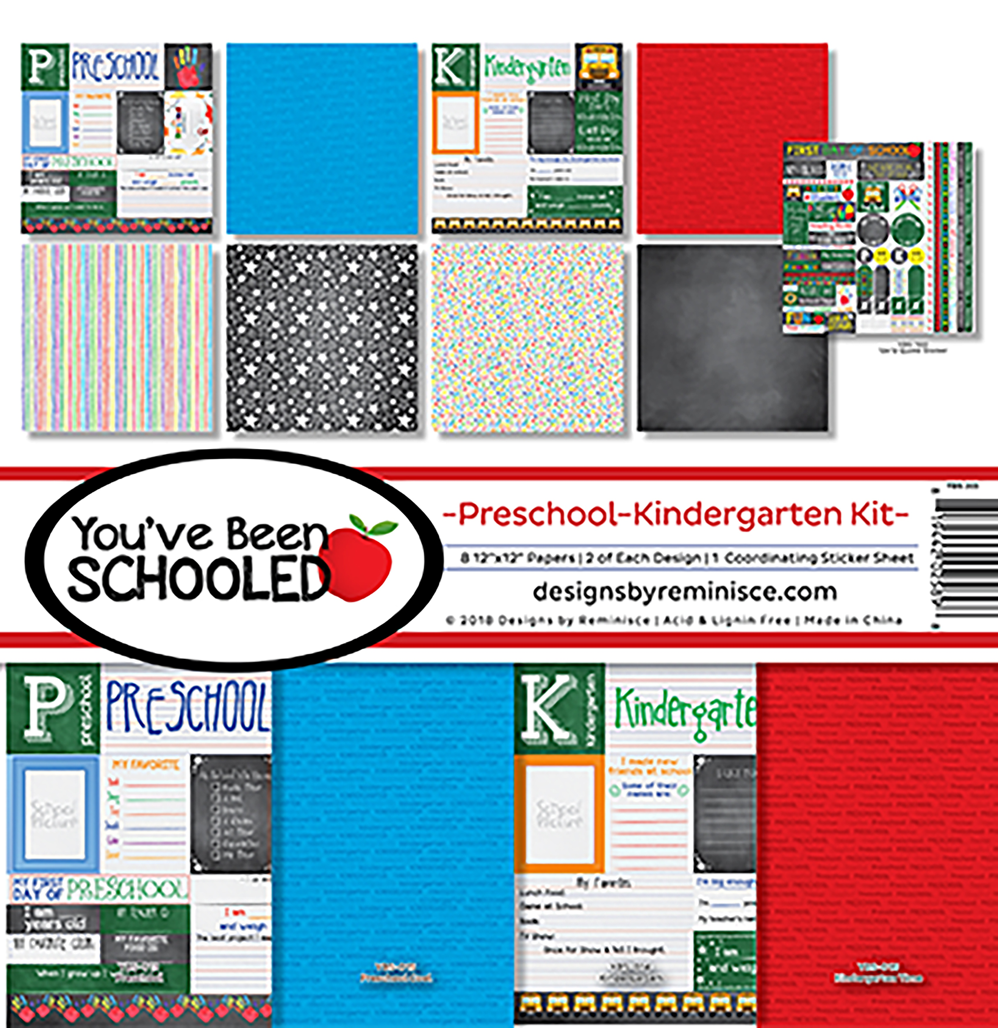 "Reminisce Collection Kit 12""X12""-You've Been Schooled, Preschool/Kinder"