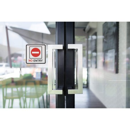 No Entry Signs - 4-Pack Metal No Trespass Signs, Aluminum Private Property Signs, Self-Adhesive, Ideal for Office, Retail, Restaurants, Indoors and Outdoors, 5.5 x 5.5 Inches - image 1 of 6