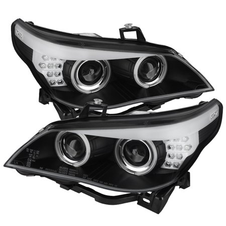 5 Series Projector Headlight - Spyder BMW E60 5-Series ( D2S HID ) 04-07 Projector Headlights - Factory Xenon Model Only ( Not Compatible With Halogen Model ) - CCFL Halo - Black -