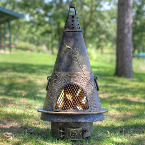 Outdoor Chiminea Fireplace Garden in Gold Accent Finish (Without Gas) by The Blue Rooster
