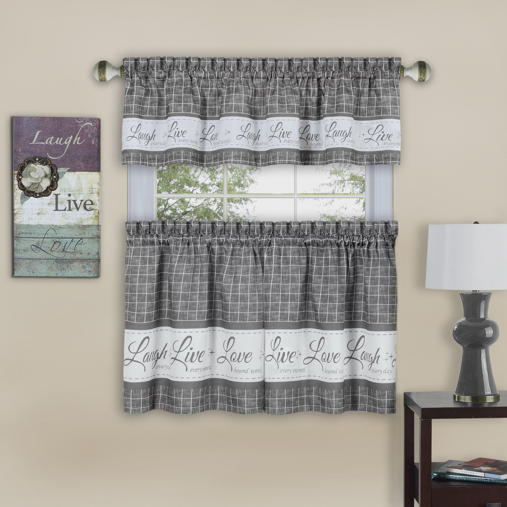 Achim Live Love Laugh Window Kitchen Curtain Tier Pair And Valance Set