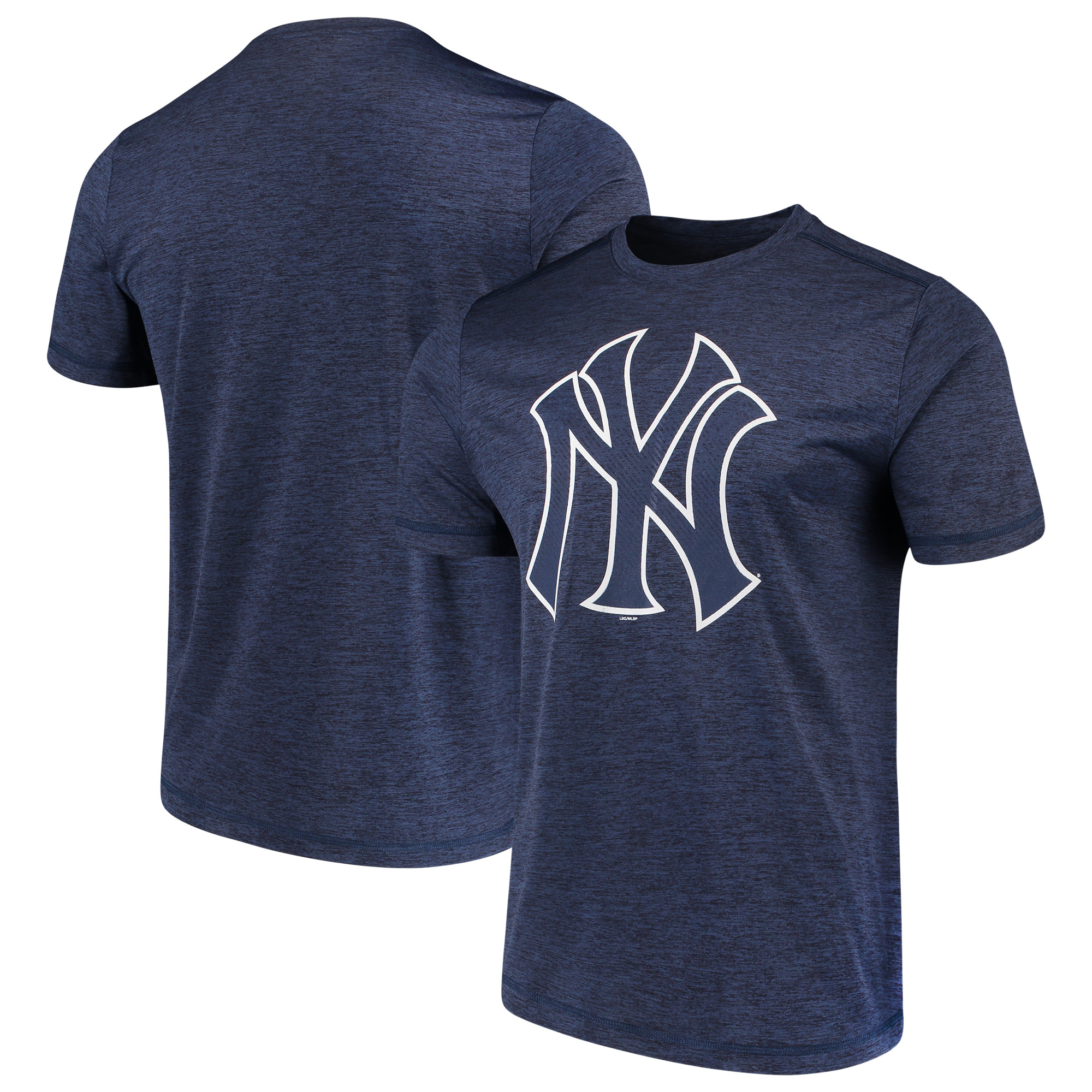 Men's Majestic Heathered Navy New York Yankees Logo Statement T-Shirt