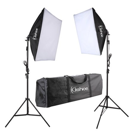 Photo Video Studio Softbox Lighting Kit, Background Support System and 135W Bulb 5070 Single Head Soft Light Box Two Lights Set for Photo Studio Product ()