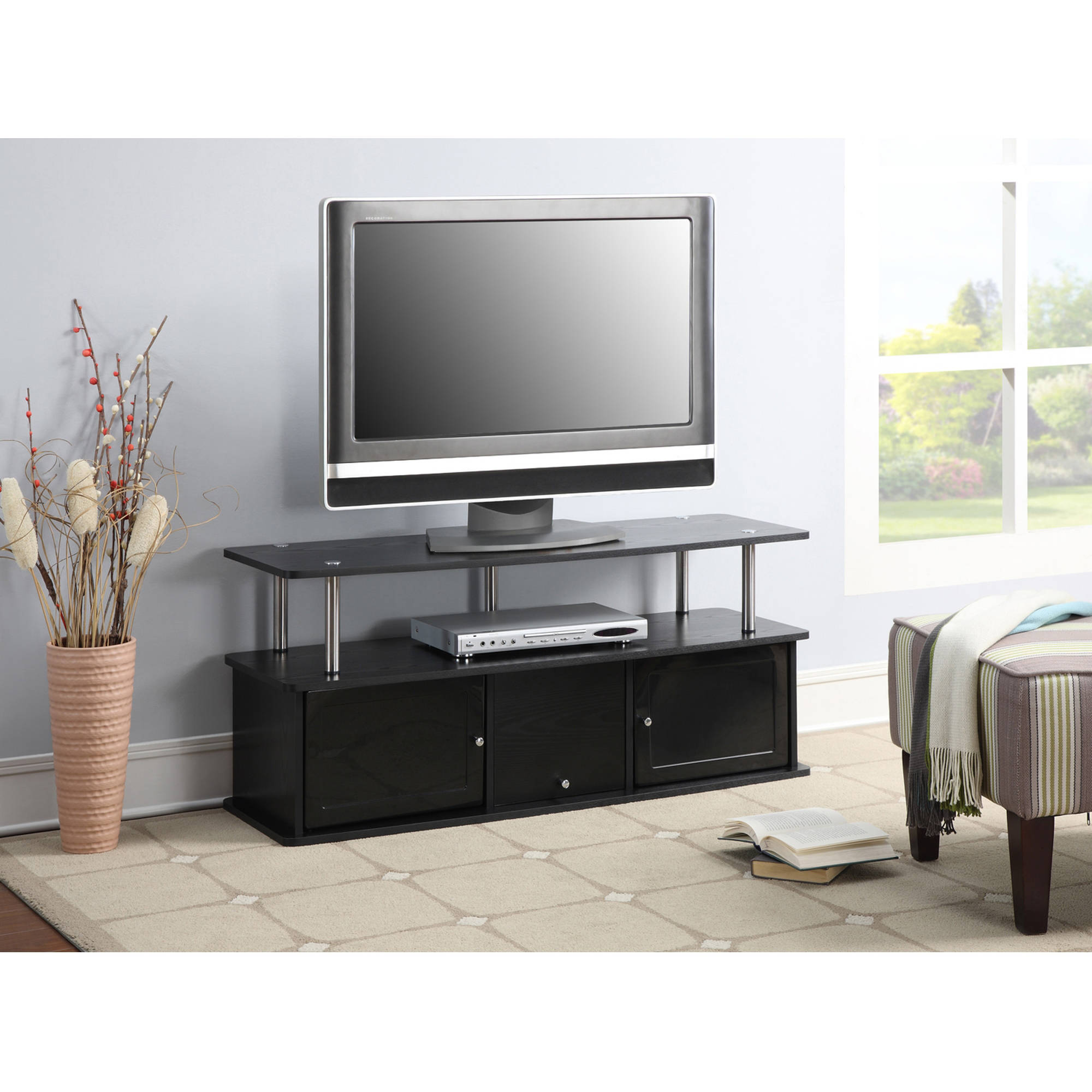 """Convenience Concepts Designs2Go Cherry TV Stand with 3 Cabinets for TVs up to 50"""", Multiple Colors"""