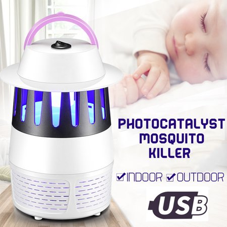 Electronic Mosquito Killer Insect Bug Zapper USB Light Trap Lamp Pest Control UV LED Photocatalyst Fly Dispeller Non-Radiative Built in Fan Mosquito Catcher Home Outdoor