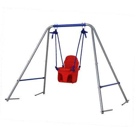 Folding Toddler Swing Garden Swing with safery seat for Kids, Nursery Swing Red, Best birthday (Best Baseball Swing Mechanics)