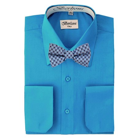 936b6ffdc3d3 Berlioni - Men's Turquoise Solid Dress Shirt and Self Tie Bow Tie -  Walmart.com