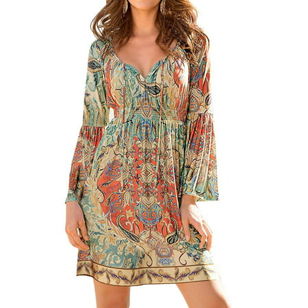 - ZXZY Boho Style Women Dress Long Sleeve Beach Summer Dresses Floral Print Vintage Maxi Dress