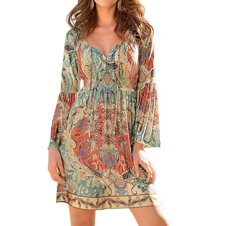 ZXZY Boho Style Women Dress Long Sleeve Beach Summer Dresses Floral Print Vintage Maxi Dress ()