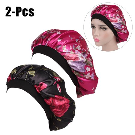 2PCS Womens Printed Wide Brim Sleeping Turbans Caps Night Sleep Caps Floral Hats