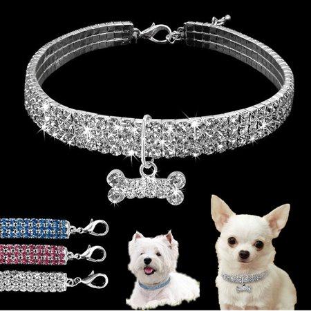 3 Row Bling Rhinestone Dog Necklace Collar Diamante & Pendant for Pet Puppy