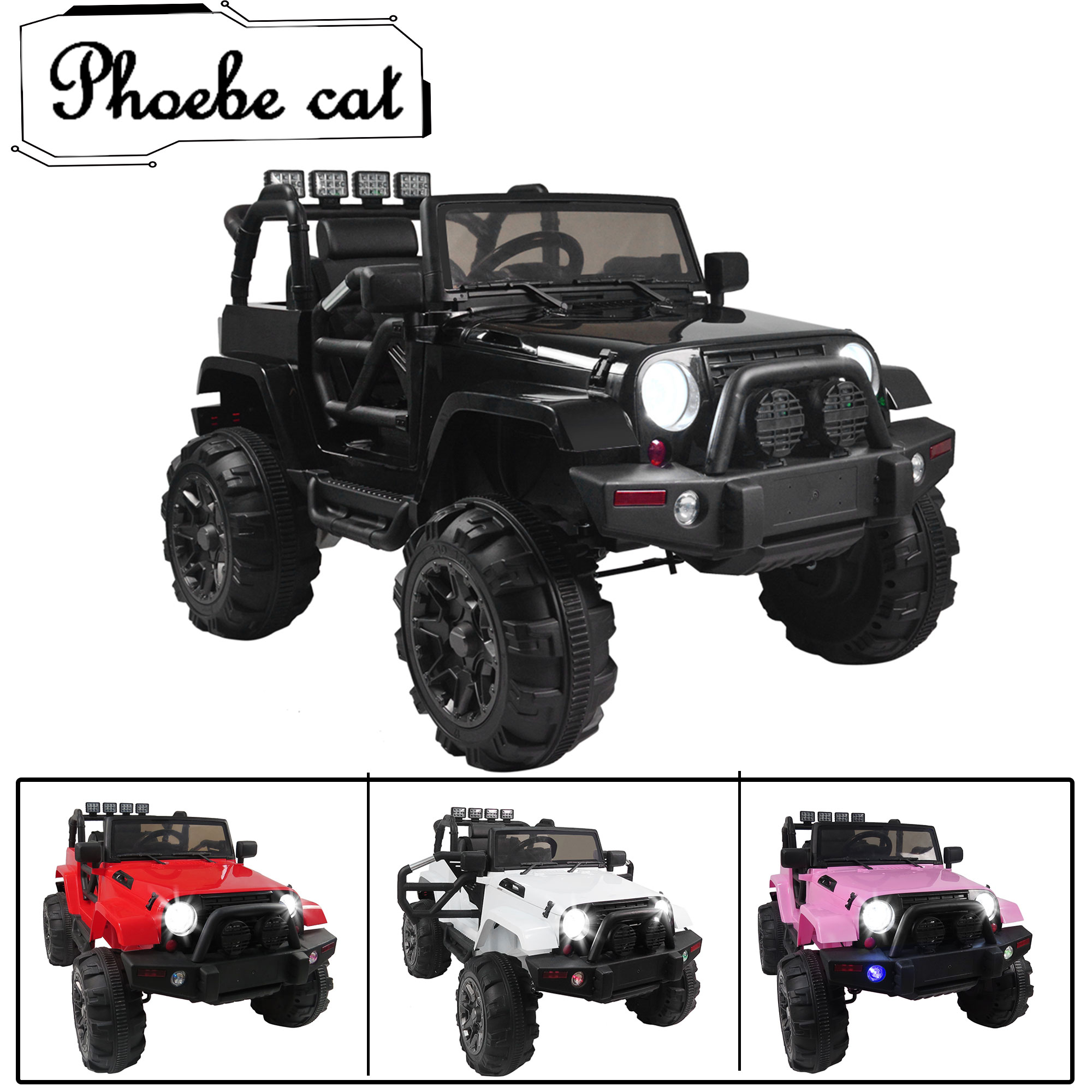Electric Cars for Boys, Black Electric Cars for Kids to Ride, Ride On Jeep Car for Children Child, 12V Kids... by