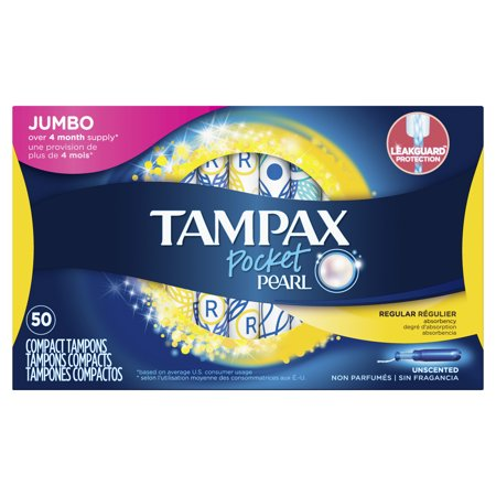 Tampax Pocket Pearl Tampons, Unscented, 50 Count