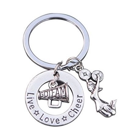 Cheer Keychain- Girls Cheerleading Megaphone Key Chain, Cheerleader Charm Keychain, Cheer Jewelry - Perfect Gift For Cheerleaders & Cheer Coaches - Cheap Coach Keychains