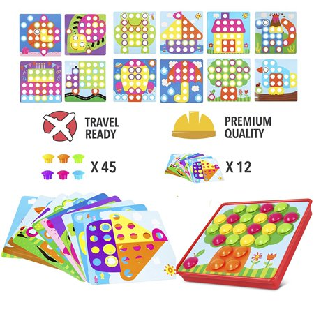 PinSpaceButton Art Color Mushrooms NailsMatching Mosaic Pegboard Puzzle Games with 12 Templates, Fine Motor Skills Game,Best gift for Boys and