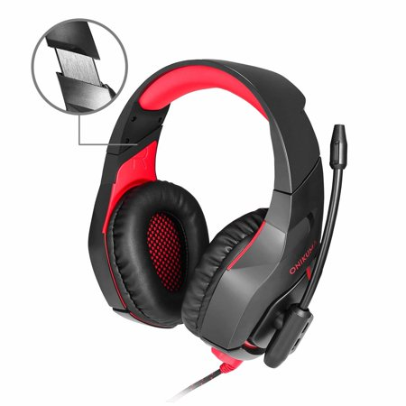Gaming Headset for PS4 Xbox One, Gaming Headphones with Mic Stereo Surround Noise Reduction LED Lights Volume Control for Laptop, PC, Mac, iPad, Smartphones, ect.